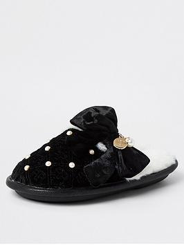 river-island-girls-monogram-bow-slippers--nbspblack