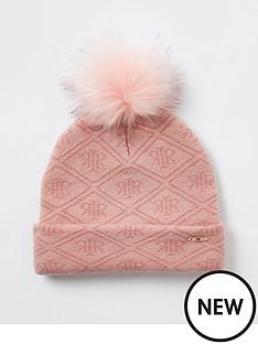 river-island-girls-monogram-knitted-beanie-hat-pink