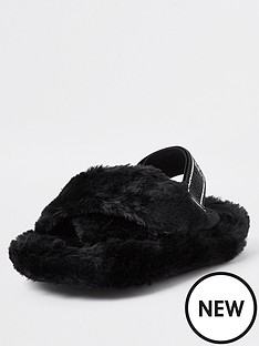 river-island-girls-faux-fur-taped-slippers-black