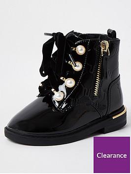 river-island-mini-mini-girls-pearl-lace-up-patent-boot-black