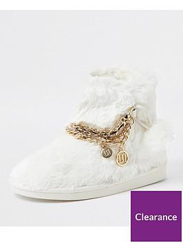 river-island-girls-faux-fur-chain-bootie-slippersnbsp--cream