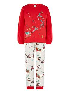 monsoon-girls-christmas-sleigh-jersey-pyjamas-red