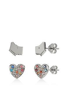 radley-radley-sterling-silver-dog-and-rainbow-crystal-heart-stud-ladies-earrings-set