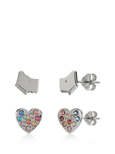 radley-sterling-silver-dog-and-rainbow-crystal-heart-stud-ladies-earrings-set