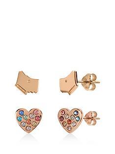 radley-radley-rose-gold-plated-sterling-silver-dog-and-rainbow-crystal-heart-stud-ladies-earrings-set