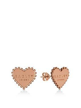 radley-radley-rose-gold-plated-sterling-silver-heart-stud-ladies-earrings