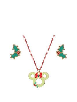disney-minnie-mouse-christmas-necklace-and-holly-stud-earrings-set