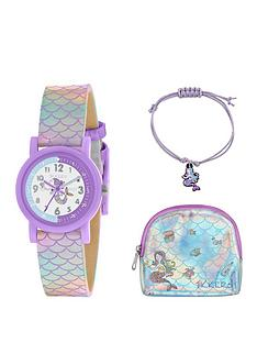 tikkers-white-and-purple-dial-iridescent-mermaid-strap-kids-watch-with-matching-purse-and-bracelet-gift-set