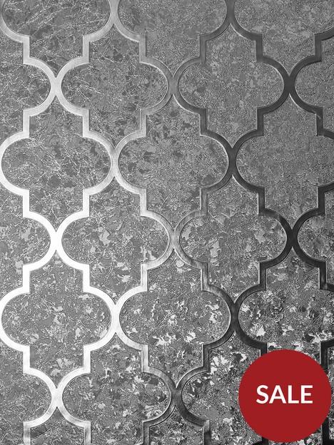 arthouse-velvet-trellis-gunmetal-wallpaper
