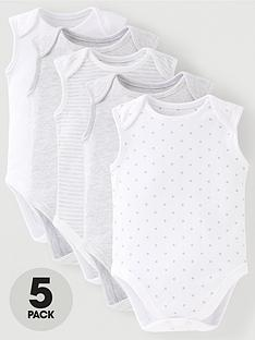 mini-v-by-very-baby-unisex-5-pack-sleeveless-essentails-grey-mix-bodysuits-grey