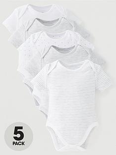 mini-v-by-very-baby-unisex-5-pack-short-sleeve-essentialsnbspgrey-mix-bodysuits-grey
