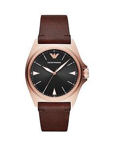 emporio-armani-black-dial-tan-leather-strap-watch