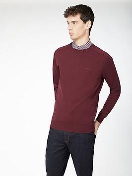 ben-sherman-signature-cotton-crew-neck-jumper-port