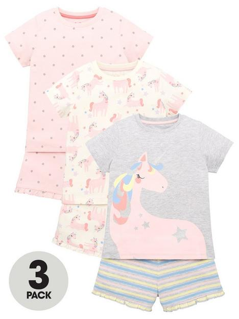mini-v-by-very-girls-3-pack-unicorn-short-pyjamas-multi