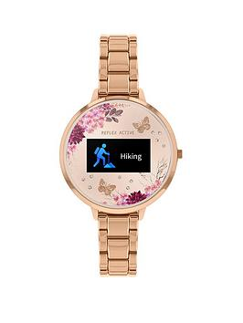 reflex-active-reflex-active-series-3-smart-watch-with-nude-floral-detail-colour-screen-crown-navigation-and-rose-gold-stainless-steel-bracelet-strap