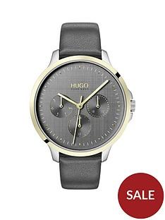 hugo-desire-grey-multi-dial-grey-leather-strap-watch