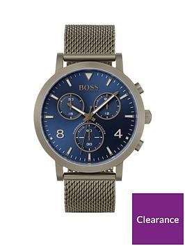 boss-spirit-blue-chronograph-dial-bronze-tone-mesh-bracelet-watch