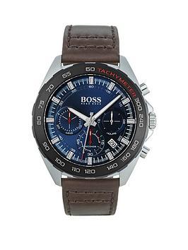 boss-intensity-blue-chronograph-dial-dark-tan-strap-watch