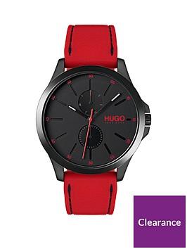 hugo-jump-black-dial-red-strap-watch