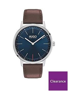 hugo-exist-blue-dial-tan-leather-strap-watch