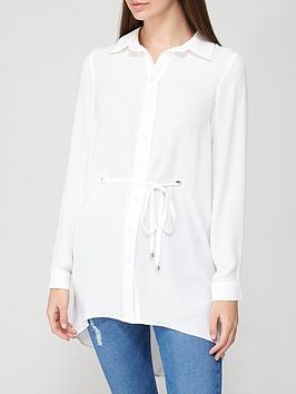 v-by-very-longline-eyelet-tie-waist-blouse-ivory