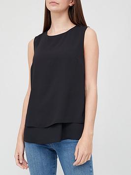 v-by-very-double-layer-split-back-vest-black