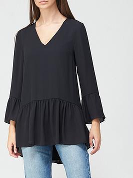 v-by-very-frill-three-quarter-sleeve-tunic-black