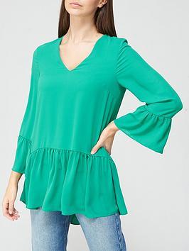 v-by-very-frill-three-quarter-sleeve-tunic-green