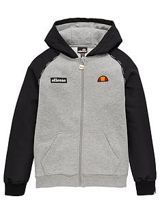 ellesse-boys-drone-junior-zip-hoodie-grey
