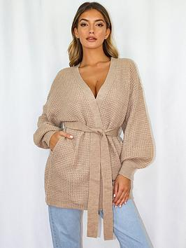 missguided-missguided-belted-balloon-sleeve-cardigan-stone