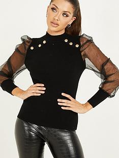 quiz-knit-gold-button-organza-sleeve-turtle-neck-top-black