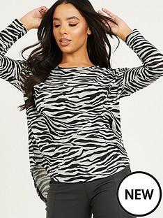 quiz-knit-zebra-print-top-greynbsp