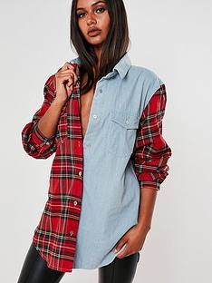 missguided-missguided-oversized-tartan-spliced-denim-shirt-light-blue