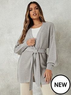 missguided-missguided-belted-balloon-sleeve-cardigan-grey
