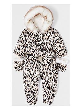 river-island-mini-baby-girls-leopard-print-snow-suit--nbspbrown