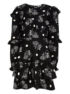 river-island-girls-ruffle-floral-skater-dress--nbspblack