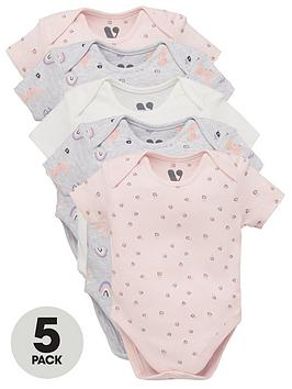 mini-v-by-very-baby-girls-5-pack-rabbit-and-rainbow-bodysuits-multi
