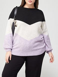 v-by-very-curve-chevron-knitted-jumper-colour-block