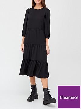v-by-very-tiered-midi-dress-black