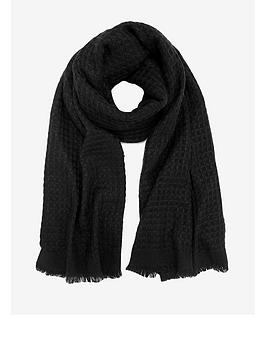 mint-velvet-waffle-scarf-black