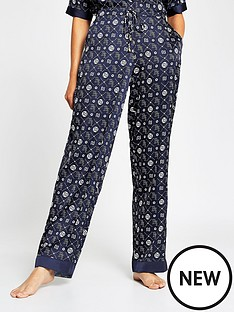 river-island-monogram-print-satin-pyjama-trousers-navy