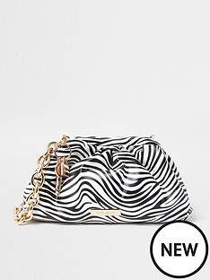 river-island-zebra-print-chunky-chain-ruched-bag-whiteblack