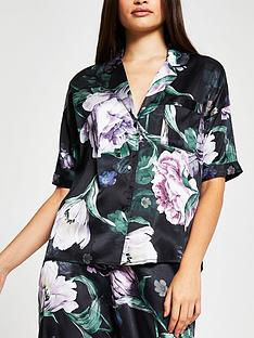 river-island-floral-print-satin-pyjama-shirt-black