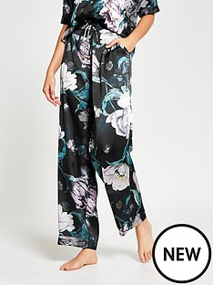 river-island-floral-print-satin-pyjama-trousers-black