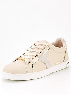 office-force-feature-side-detail-lace-up-trainer-nude