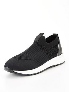 office-finely-knitted-slip-on-trainer-black