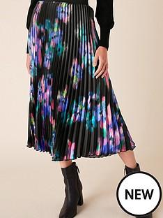 monsoon-blur-print-pleated-midi-skirt-black