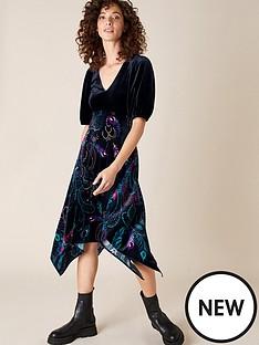 monsoon-persephone-peacock-print-hanky-hem-dress-black