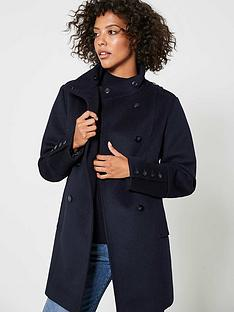 mint-velvet-funnel-neck-button-coat-navy