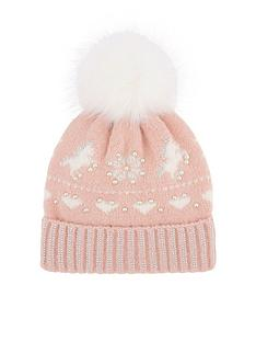 monsoon-girlsnbspcharlotte-unicorn-fairisle-hat-pale-pink